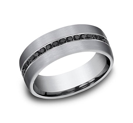 7.5mm grey tantalum with satin finish and channel set black diamond ring
