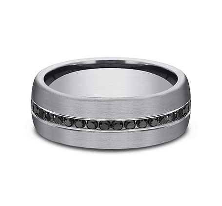 Benchmark 7.5mm Tantalum & Channel Set Black Diamond Men's Ring