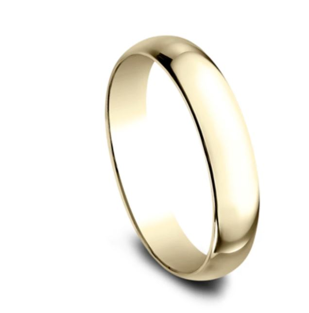 4mm 10 karat yellow gold classic ring with a high polish finish