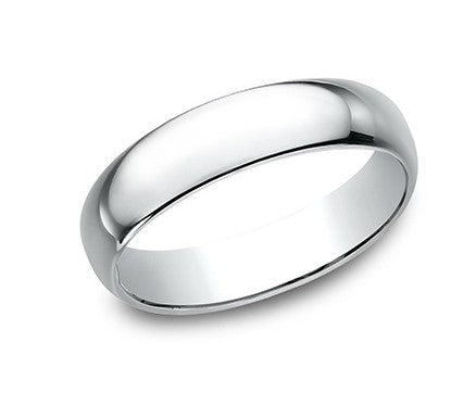 5mm 10k white gold classic ring with a high polish finish