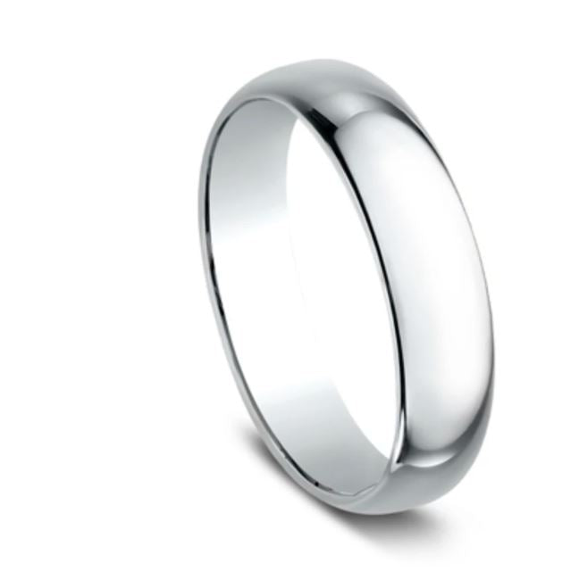 5mm 10k  White Gold Classic Mens Ring
