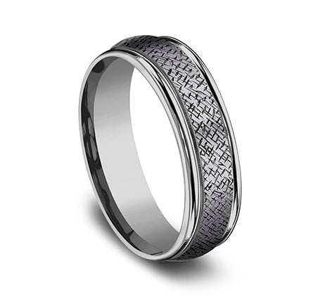 Benchmark 6.5mm Tantalum Cross Hatch Pattern Men's Ring