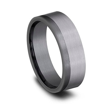 7mm two-tone grey tantalum ring with satin finish