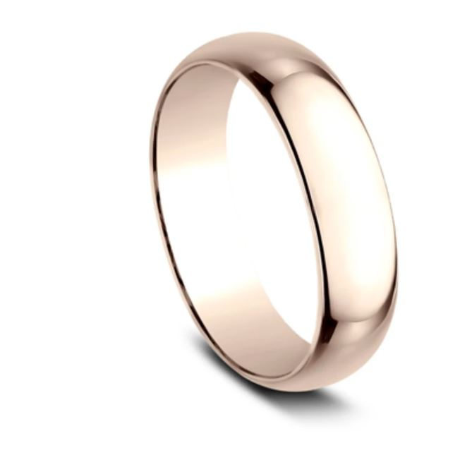 6mm 14 karat rose gold classic ring with a high polish finish