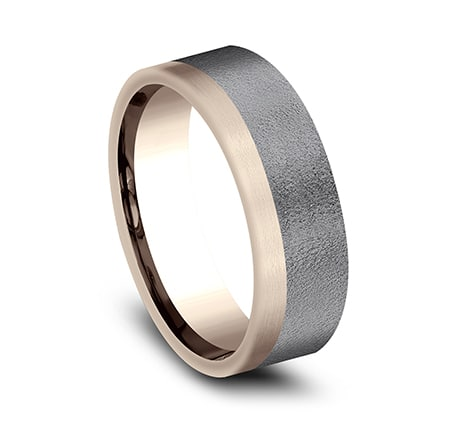 Benchmark: Ammara Stone  7mm 14k Rose Gold & Grey Tantalum Two-Tone Satin Finish Men's Ring