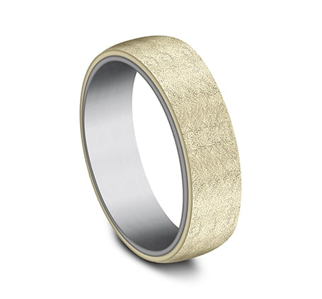 6.5mm 14 karat yellow gold and grey tantalum ring with swirl finish