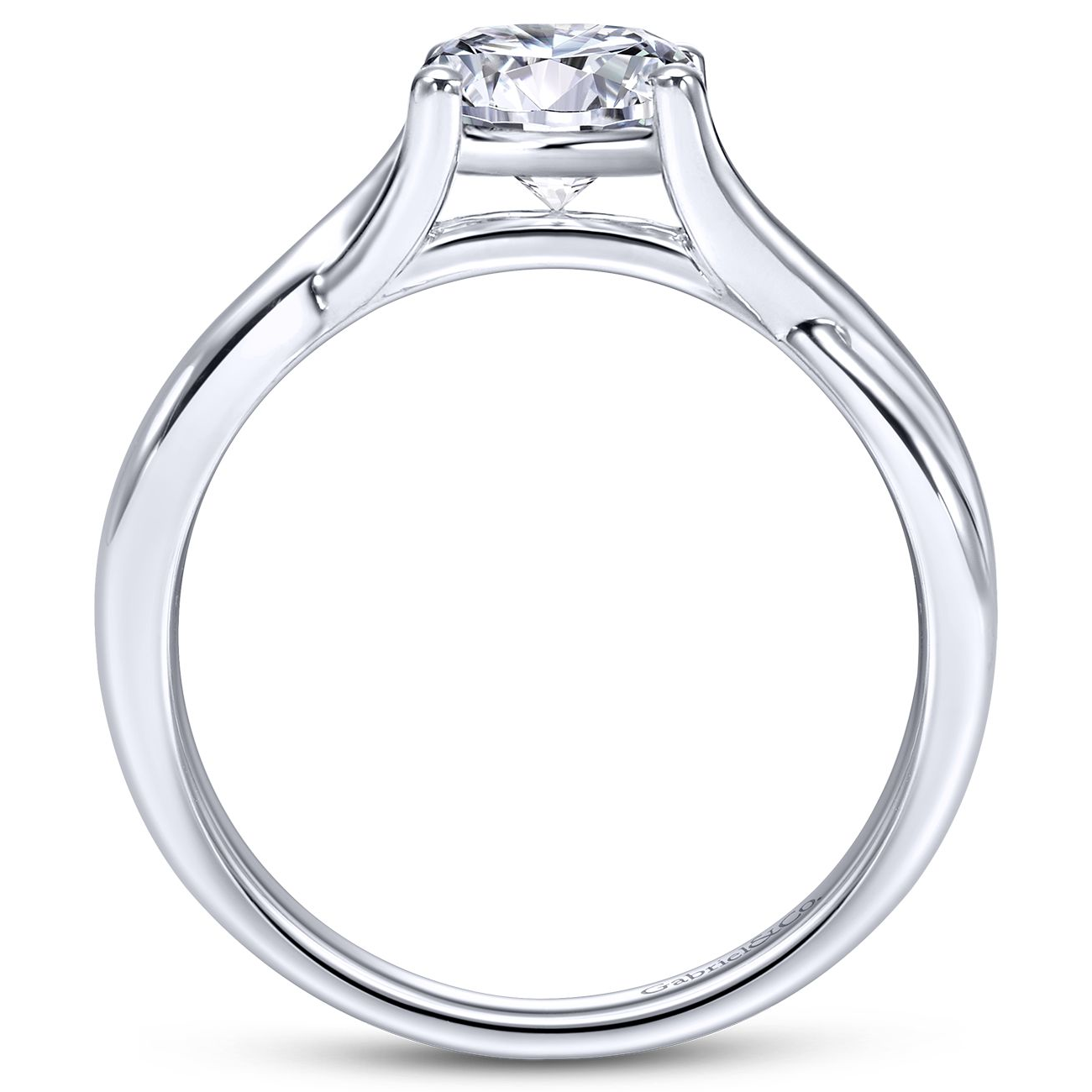 Gabriel & Co. 14k White Gold Twisted Diamond Solitaire Engagement Ring