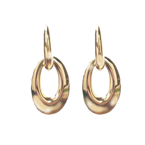 Marcello Pane 18k Yellow Gold Vermeil Oval Link Drop Earrings
