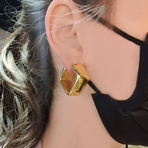 Marcello Pane 18k Yellow Gold Vermeil Chunky Geometric Earrings