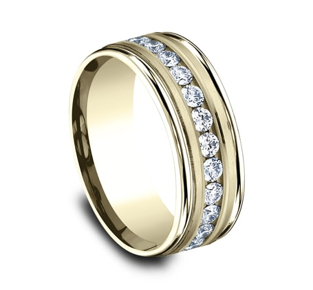 Benchmark 8mm Round Diamond Channel Set Men's Ring
