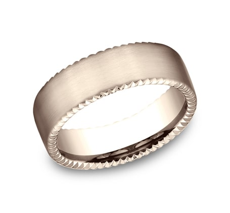 7.5mm rose gold rivet coin edge ring with satin finish