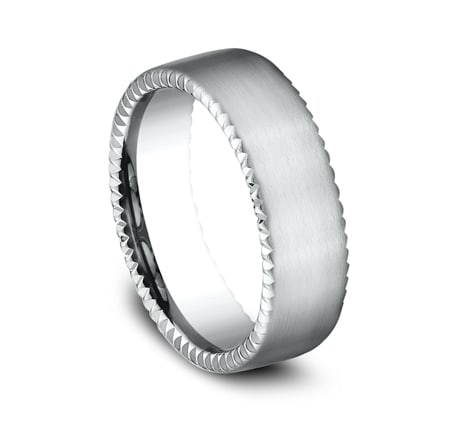 7.5mm white gold rivet coin edge ring with satin finish