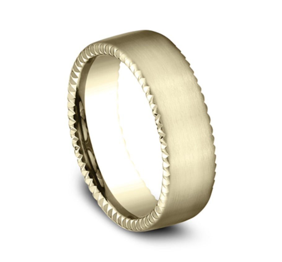7.5mm yellow gold rivet coin edge ring with satin finish