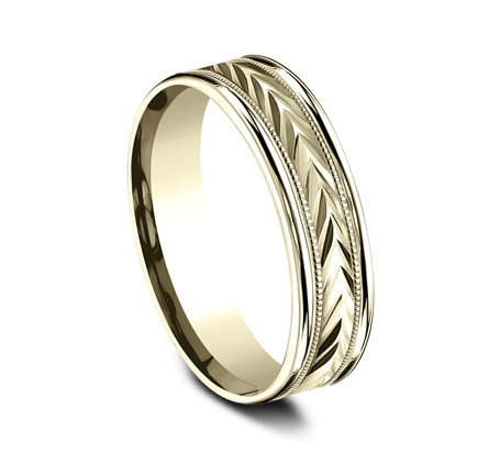 "6mm Yellow Gold Ring with Carved ""V"" Etching"