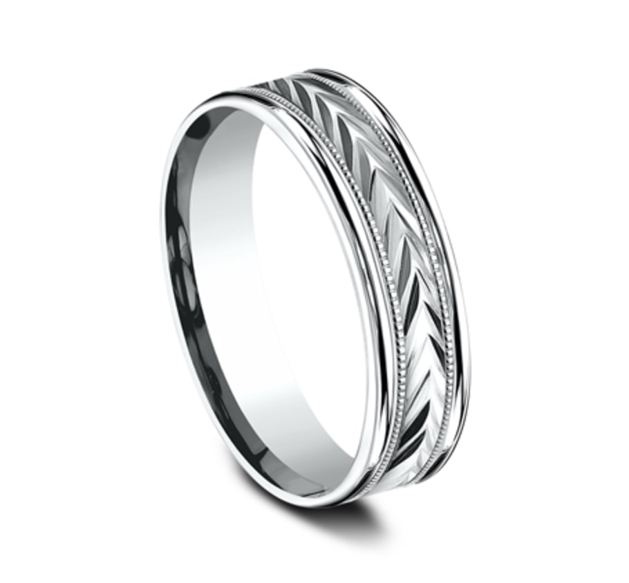"6mm White Gold Ring with Carved ""V"" Etching"