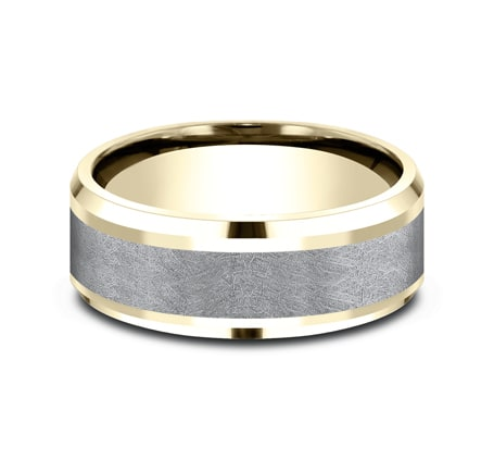 8mm 14 karat yellow gold and grey tantalum inlay with swirl brush finish