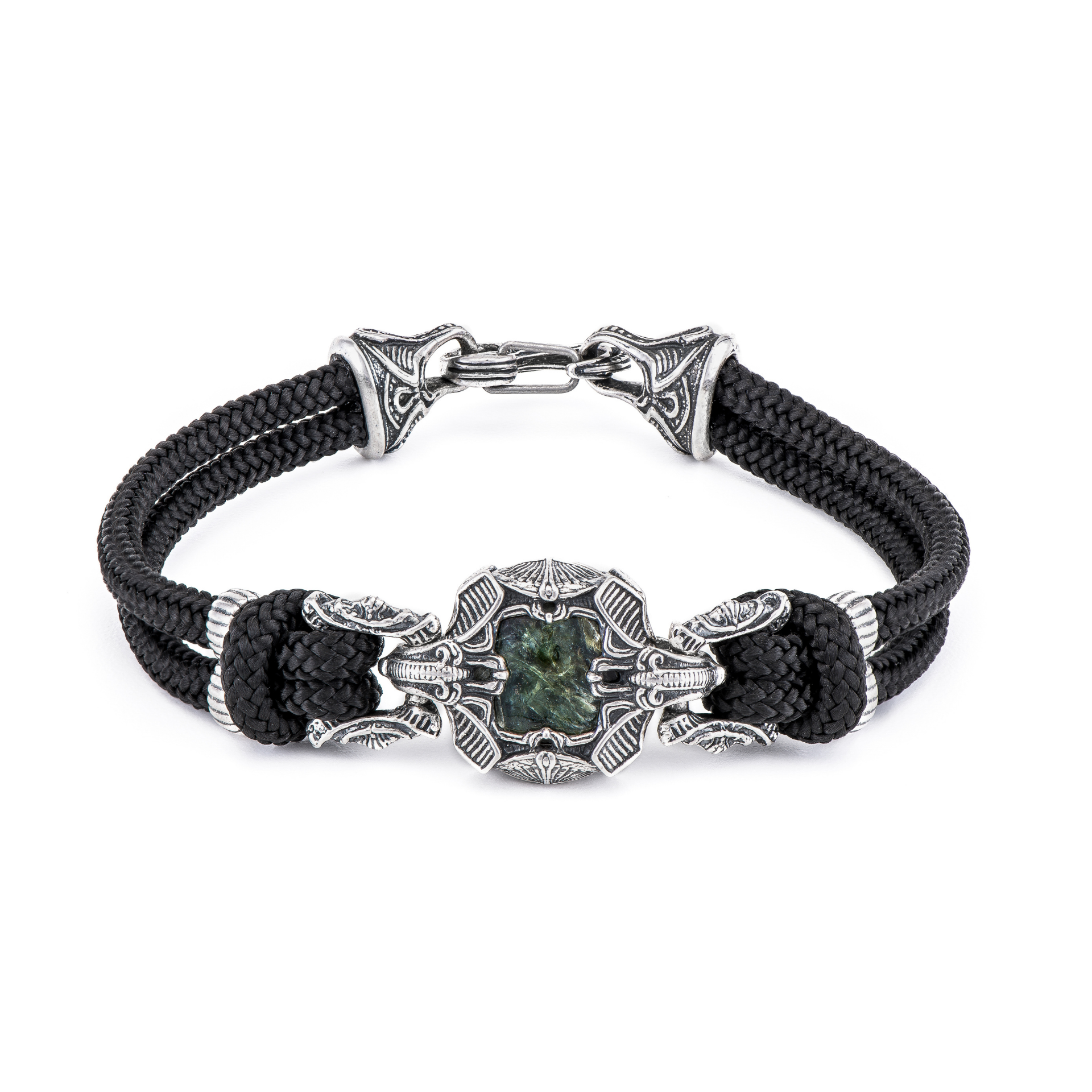 William Henry, Masculine, Bracelet, Sterling Silver, Para-Cord, Dinosaur Fossil, Green, Ottawa