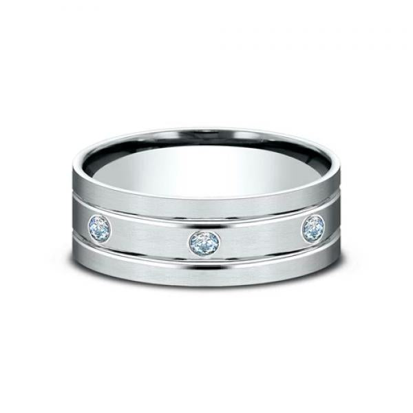 14 karat white gold and diamond ring with a satin finish and etched parallel lines