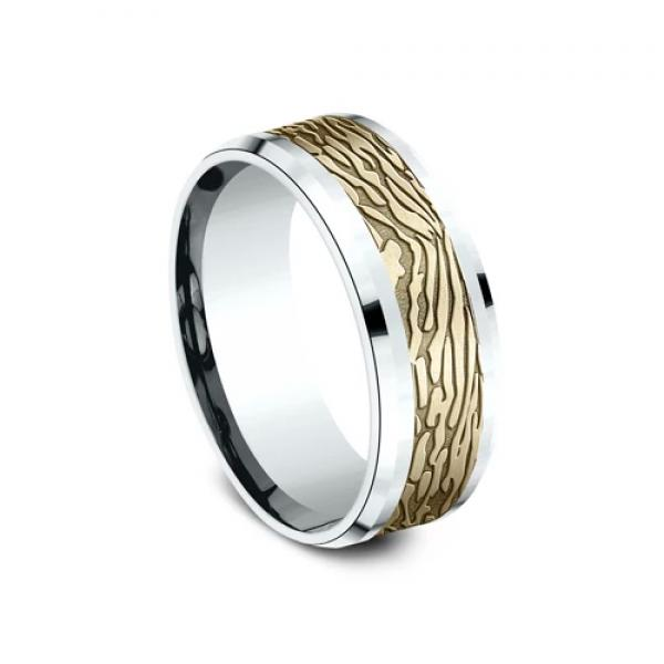 8mm 14 karat white and yellow gold ring with sculptural bark inlay