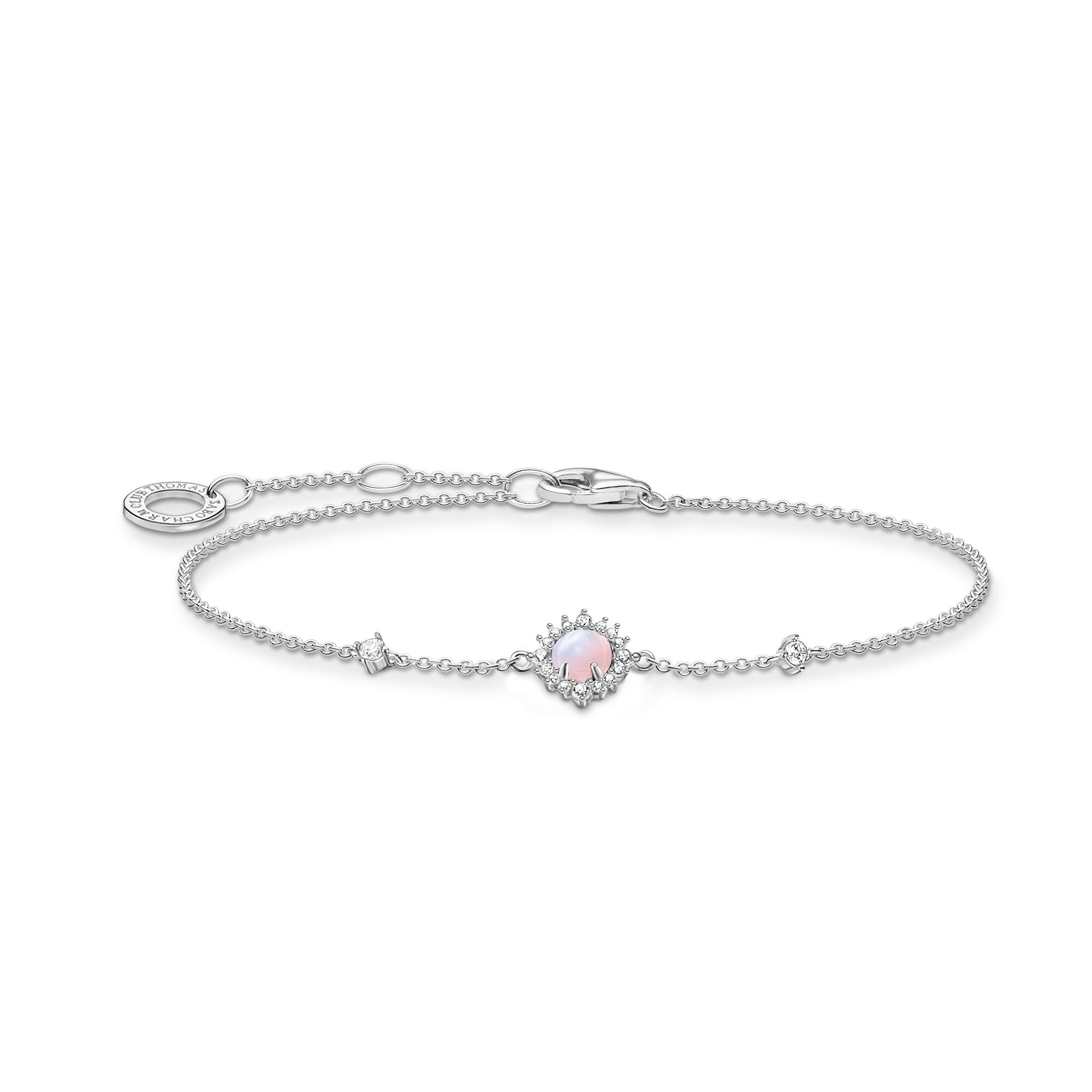 Thomas Sabo Sterling silver and Pink Opal colour affect stone bracelet
