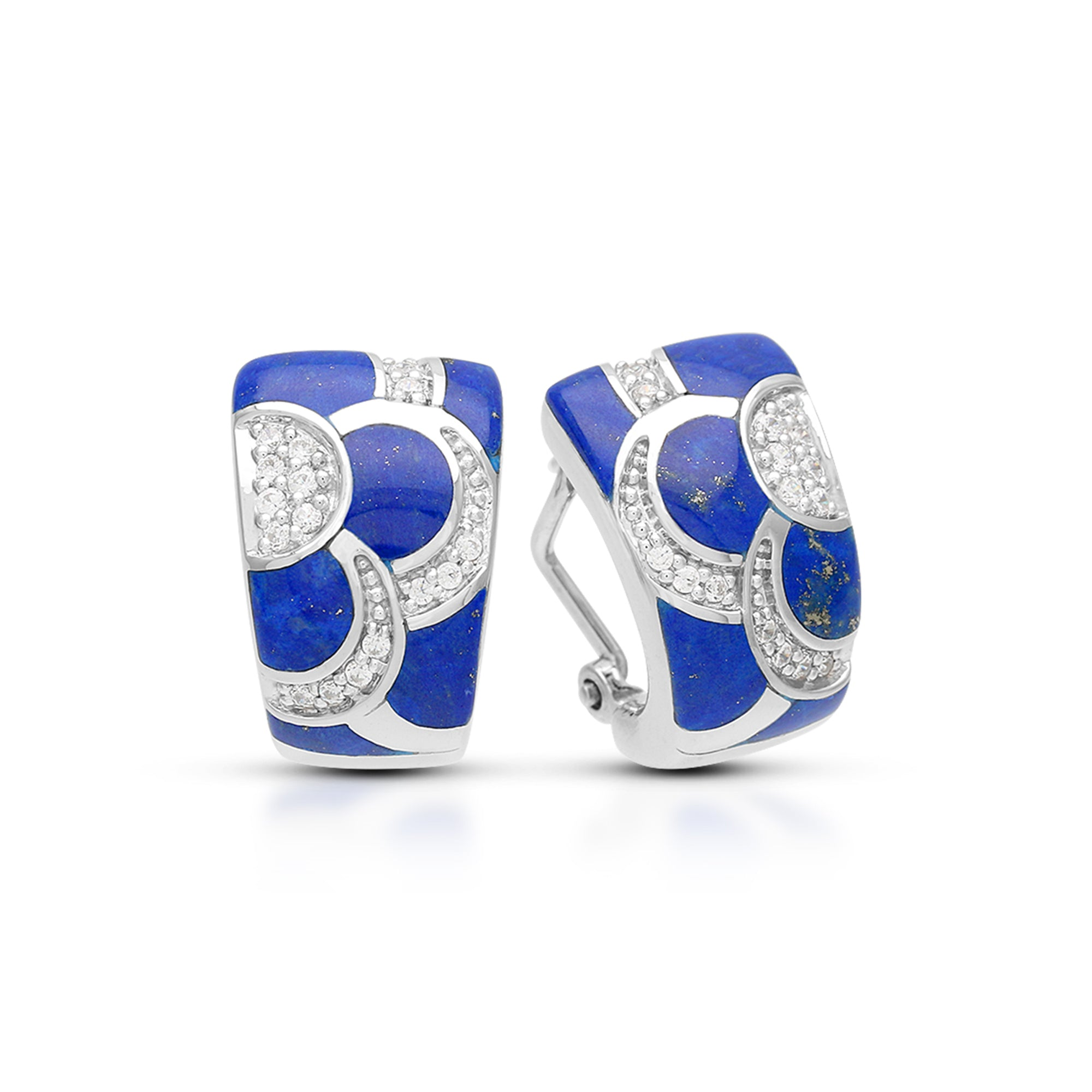 Blue lapis lazuli and white zirconia earrings in sterling silver by Belle Etoile