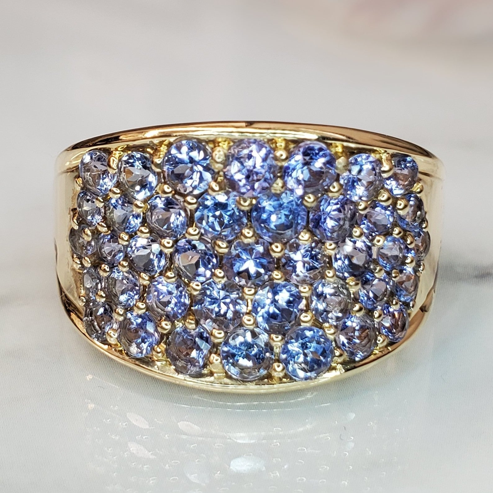 Estate 14k Yellow Gold Tanzanite Wide Tapered Ring