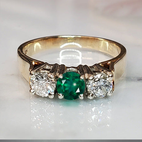 Pre-Owned Three Stone 14k Yellow Gold Emerald and Diamond Ring