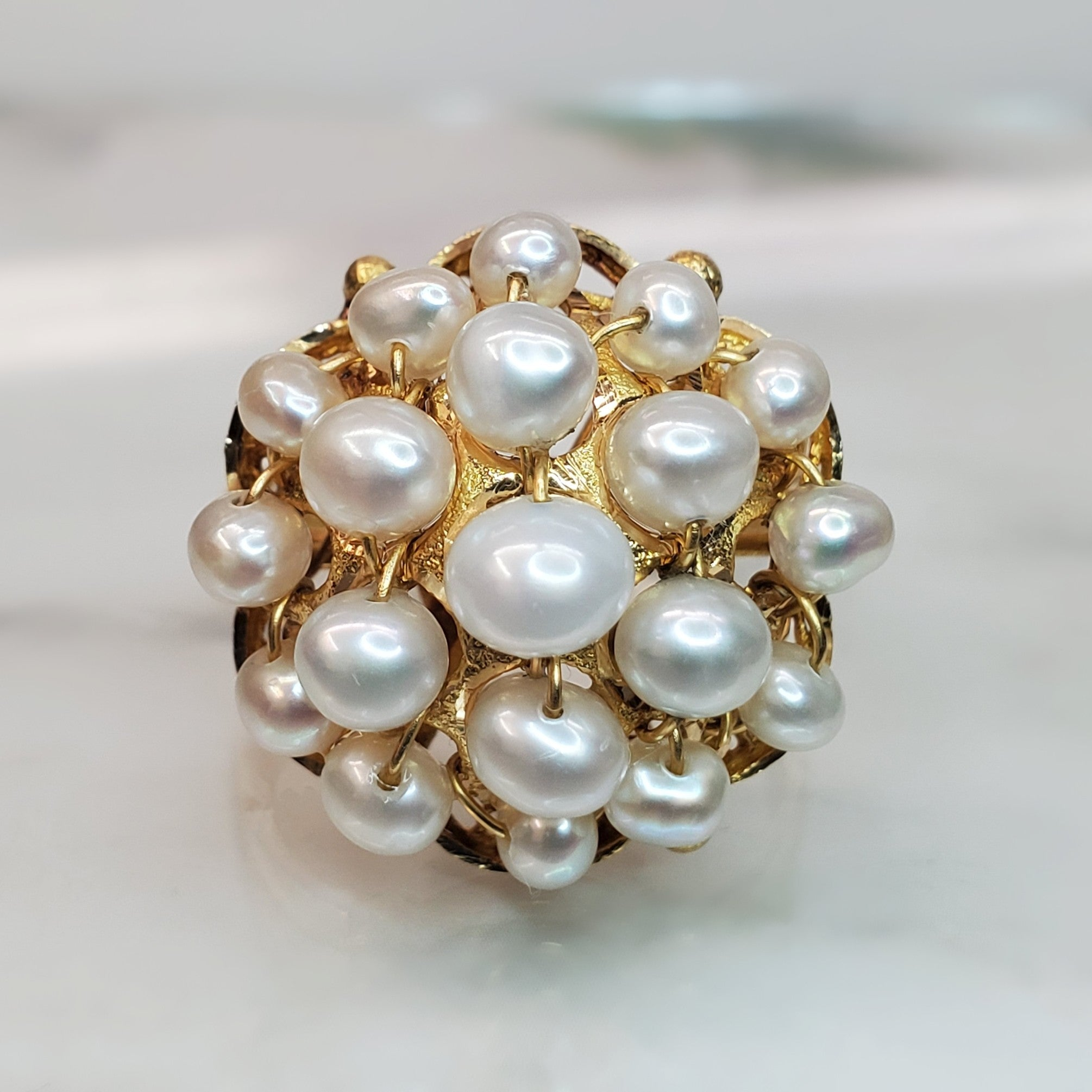 18 karat yellow gold, pearl cluster, estate ring