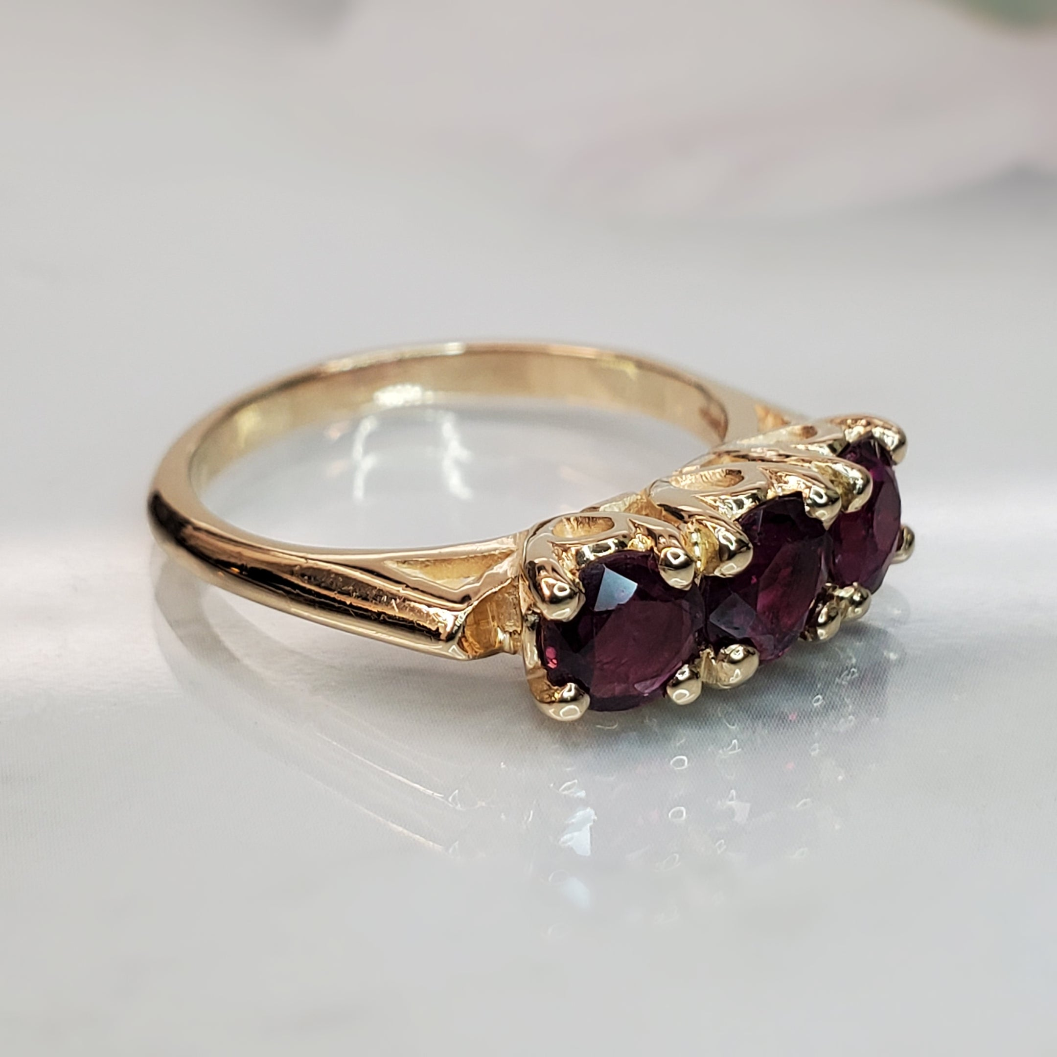 Vintage 14k Yellow Gold 3 Stone Ruby Ring