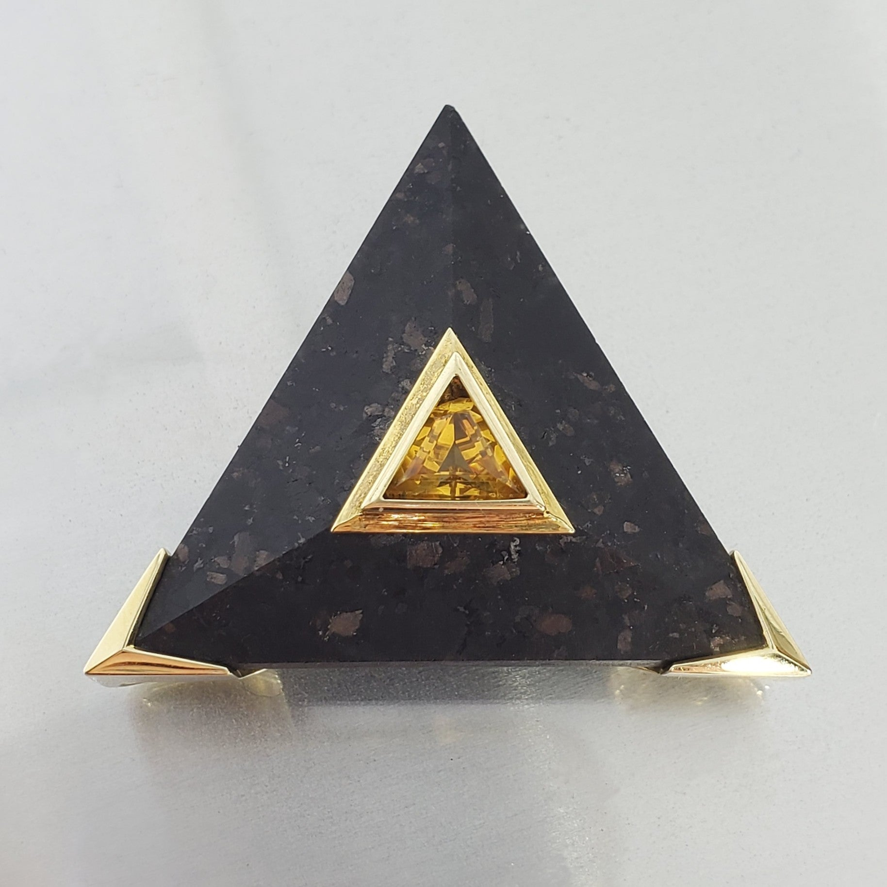 Retro 14k Yellow Gold Triangle Citrine and Black Stone Pendant Slider