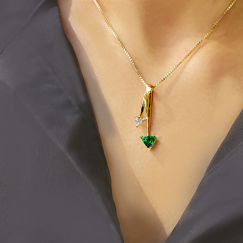 Estate 18k Yellow Gold Tsavorite and Diamond Trilliant Pendant Necklace