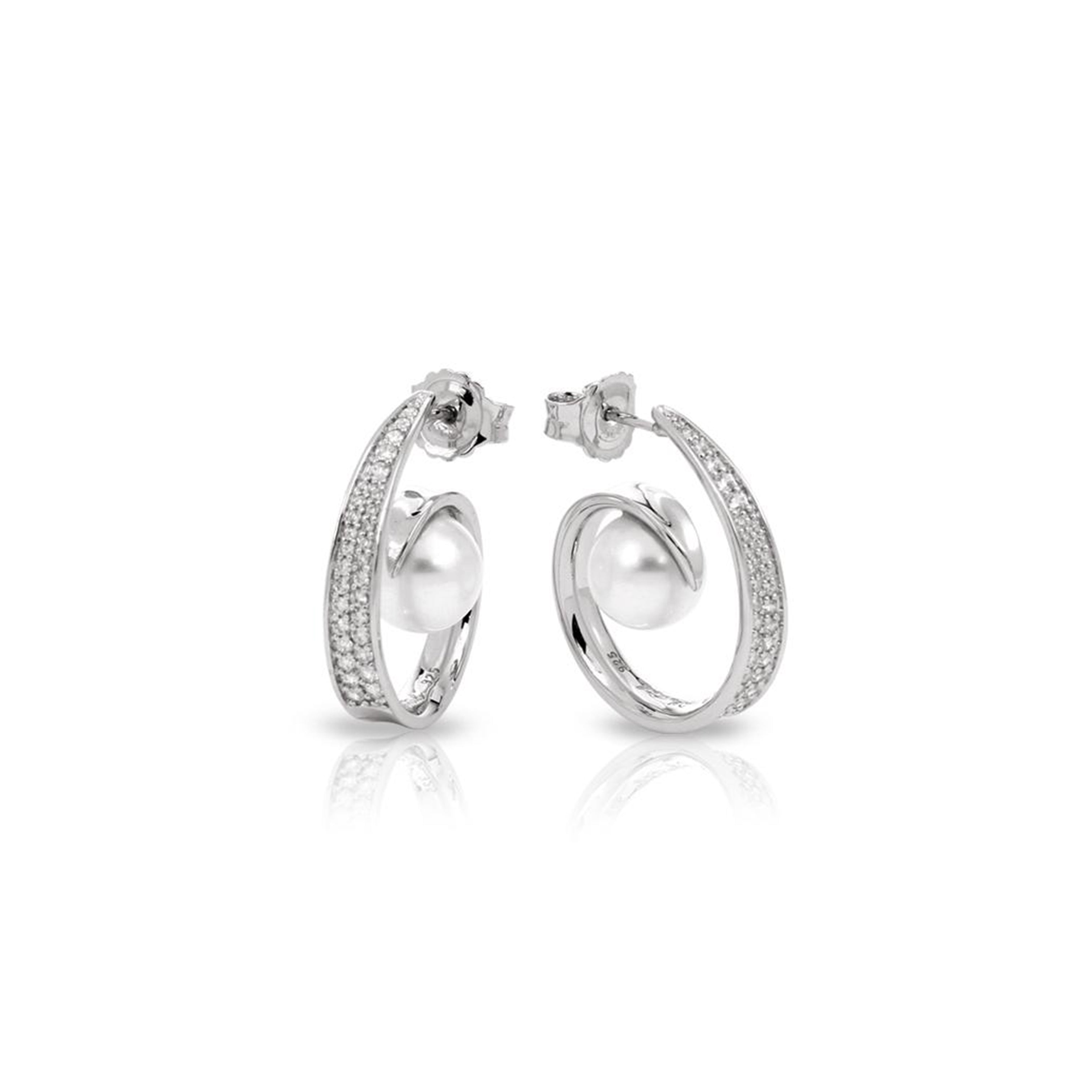Sea shell pearl and white zirconia hoop earrings in sterling silver by Belle Etoile