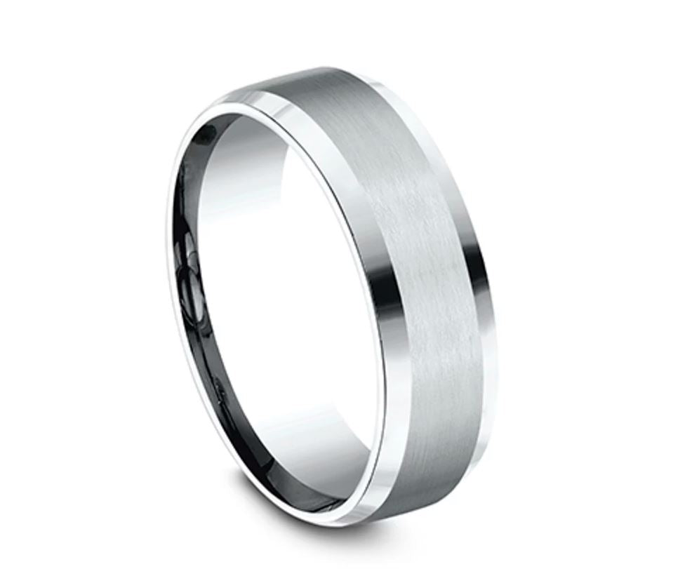 Benchmark: Ammara Stone Men's Satin Finish Wedding Ring