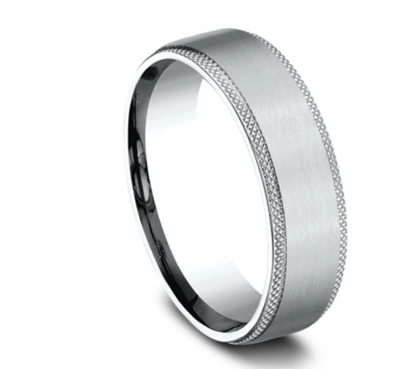 6.5mm 14 karat white gold sating finish ring with hatched edge