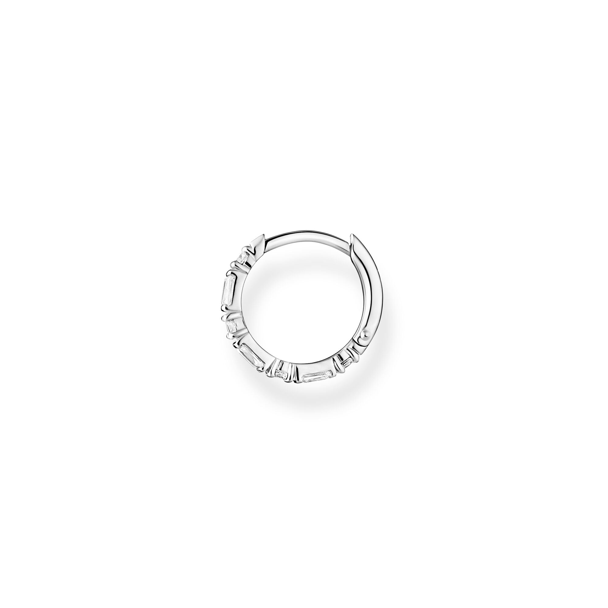 Thomas Sabo sterling silver and white baguette stones, clicker style single hoop earring