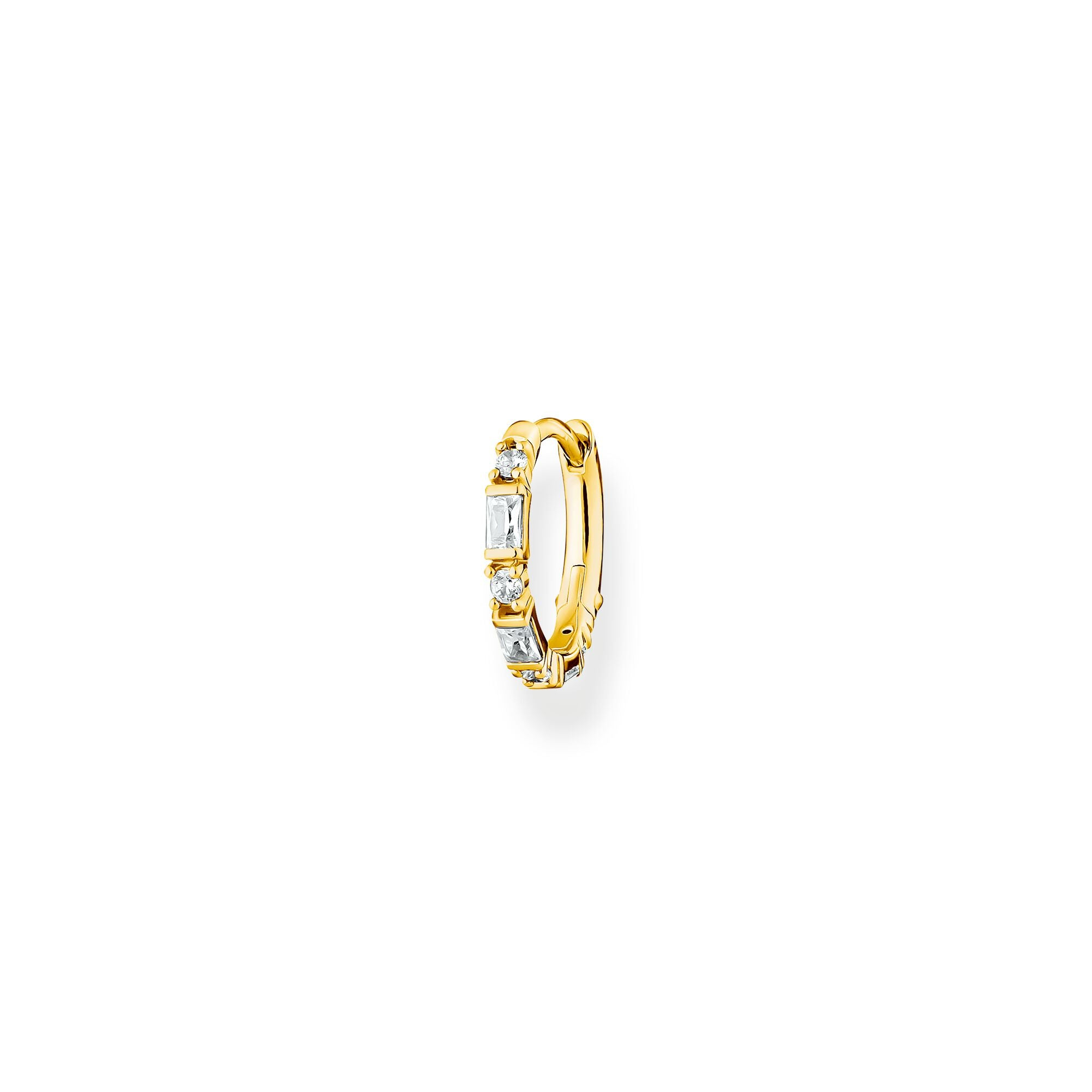 Thomas Sabo 18k yellow gold plated sterling silver and white baguette stones, clicker style single hoop earring