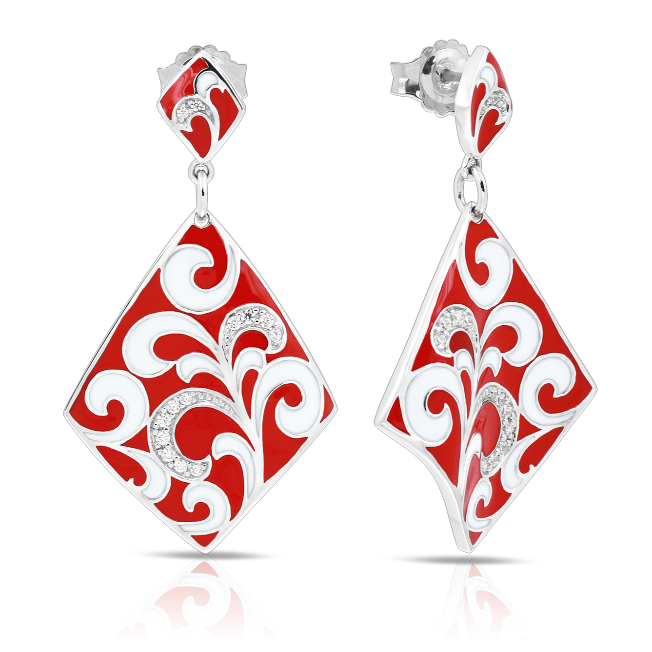 Belle Étoile Contessa Red Earrings in Sterling Silver