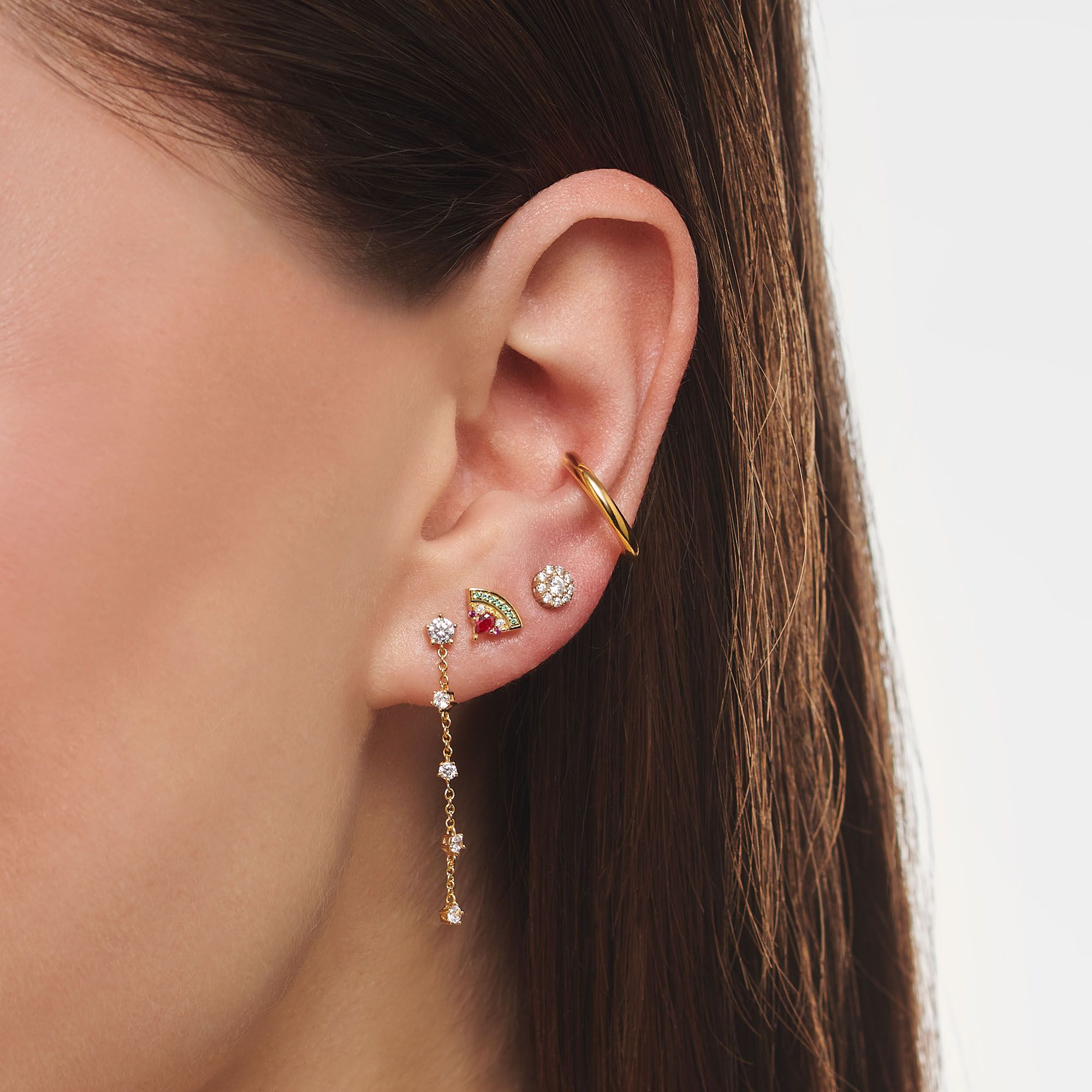 Thomas Sabo 18 karat yellow gold plated sterling silver plain ear cuff for non pierced ears.  Comes as a single earring