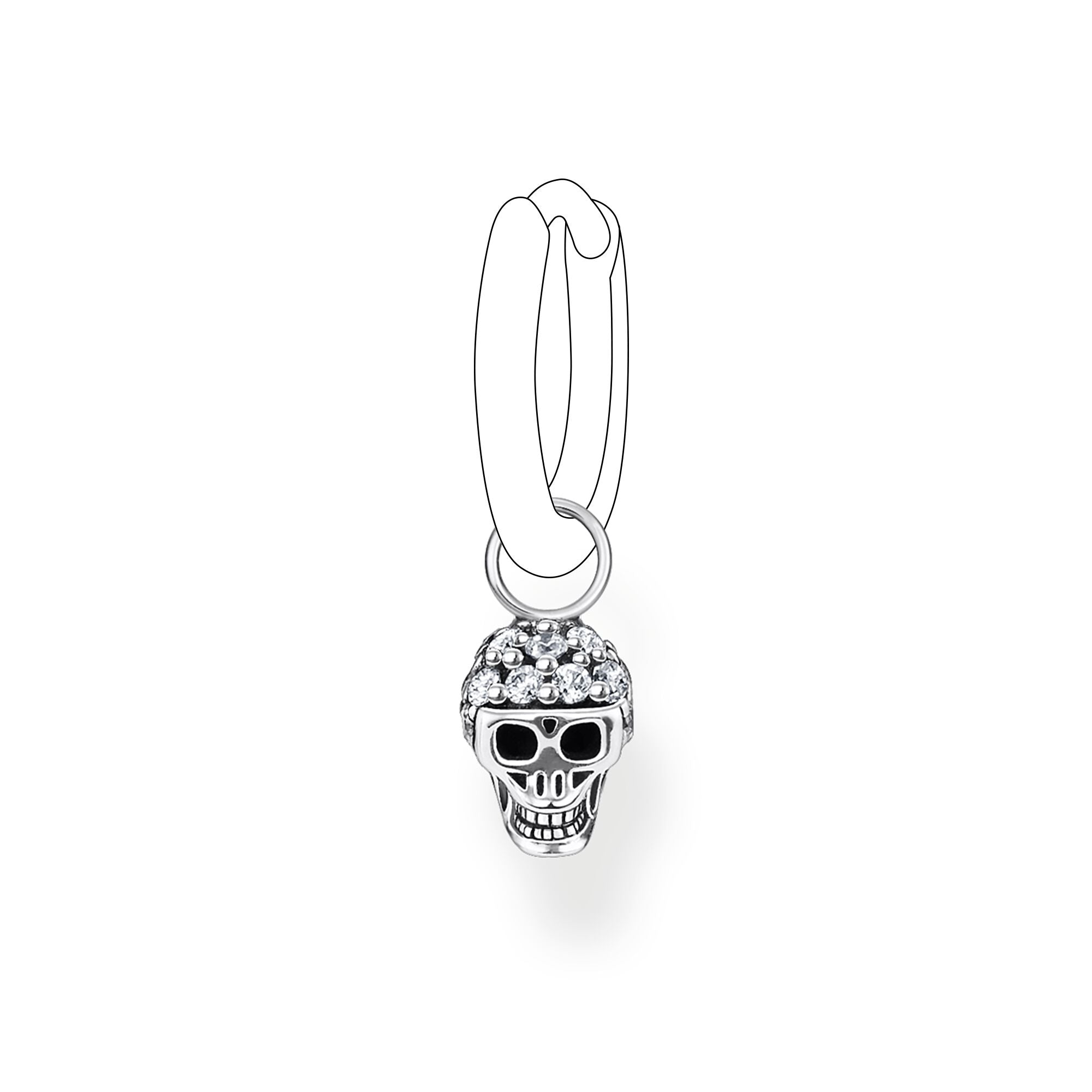 Thomas Sabo, Sterling Silver, Cubic Zirconia, Skull, Single Earring Pendant, Ottawa