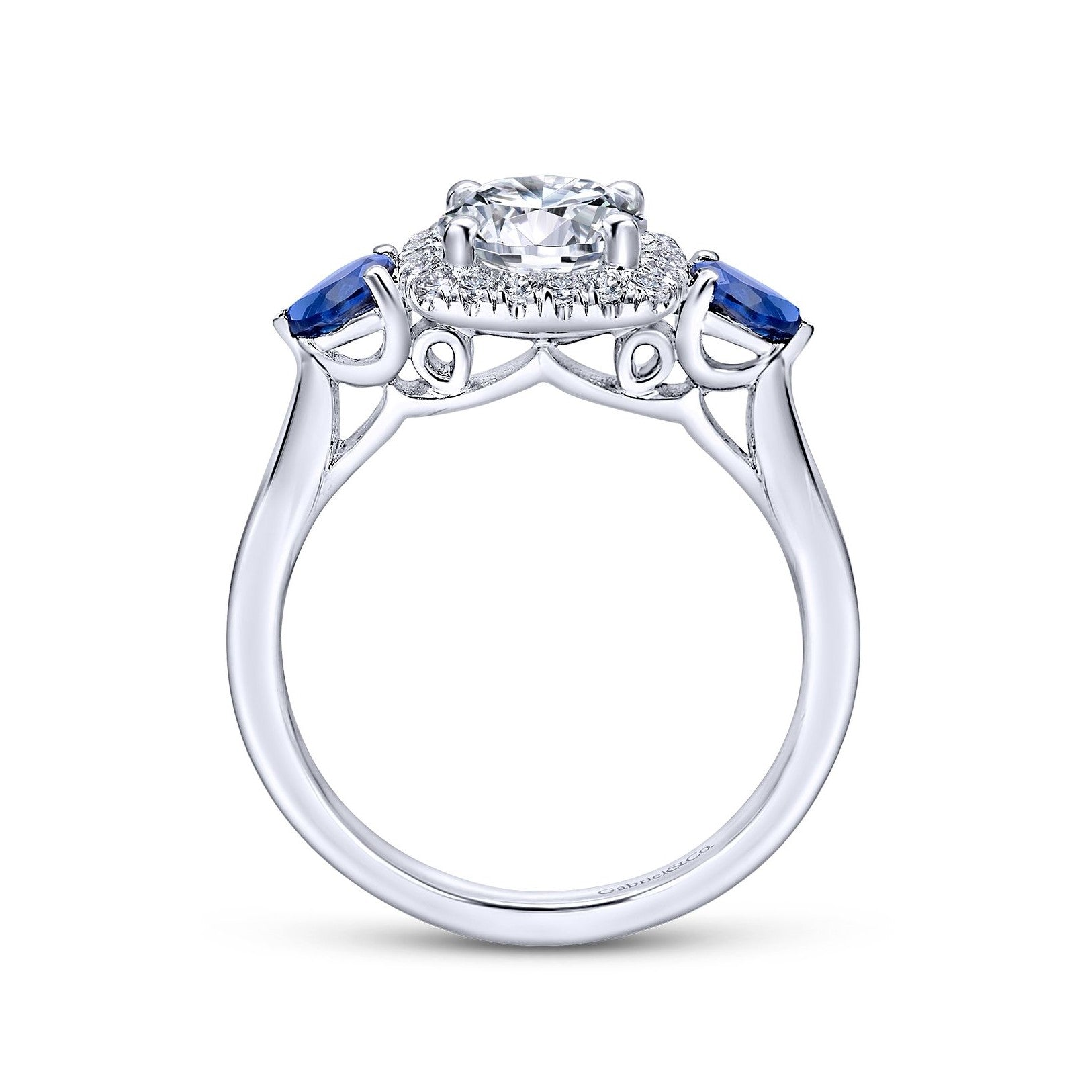 Gabriel & Co. 14k White Gold Round Diamond Cushion Halo & Pear Shaped Blue Sapphires Engagement Ring