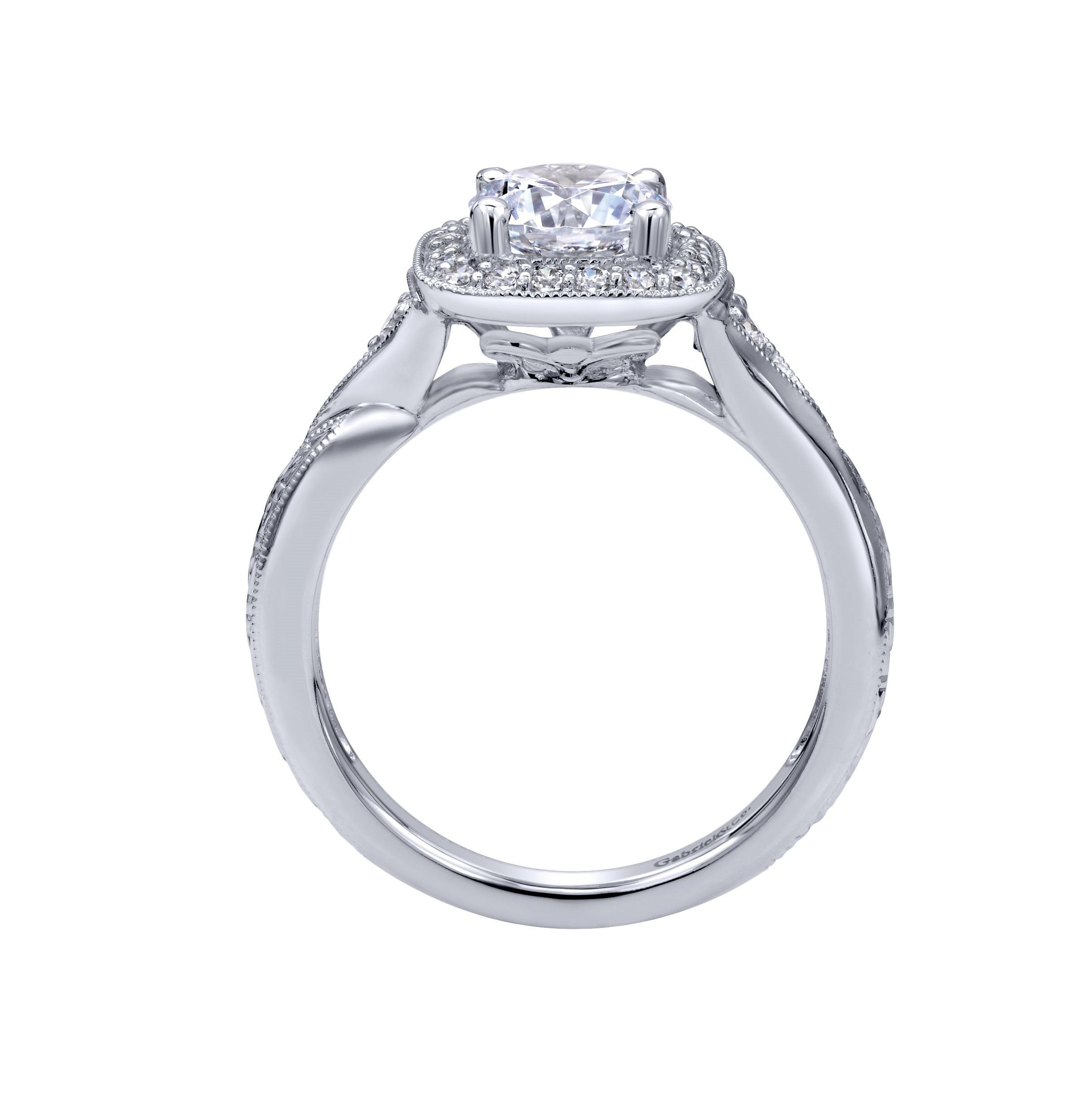 Gabriel & Co. Vintage Diamond Halo Engagement Ring