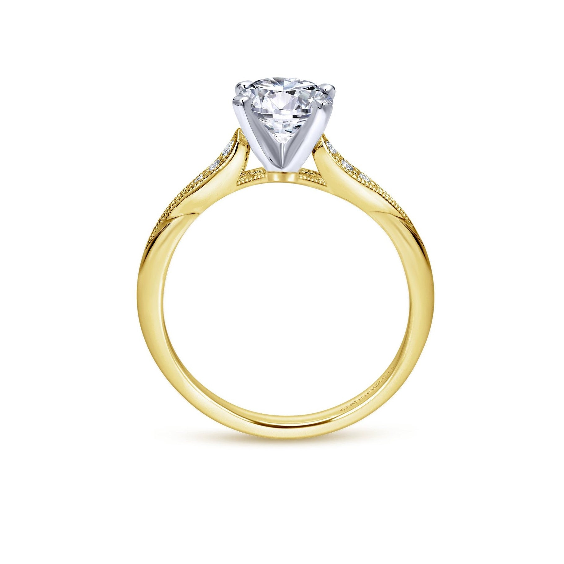 Gabriel & Co. 14K Yellow Gold Band White Gold Claw Round Diamond Engagement Ring