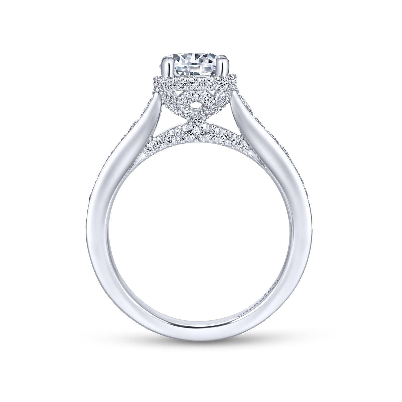 Gabriel & Co. 14k White Gold Straight Diamond Band Engagement Ring