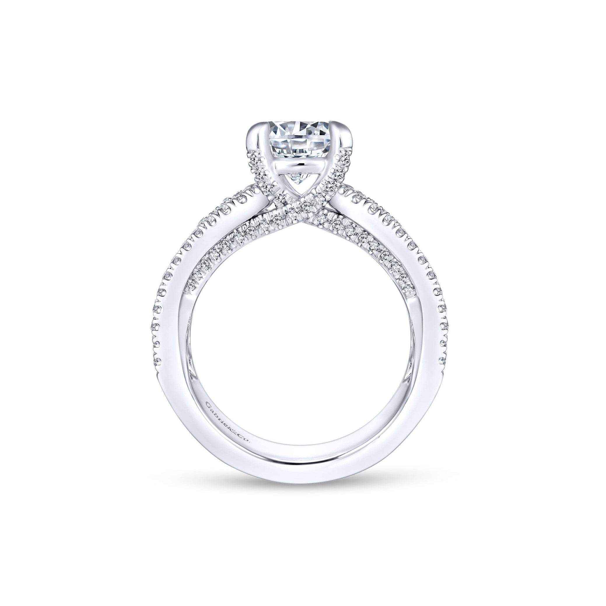 Gabriel & Co. 14K White Gold Wide Satin Engagement Ring