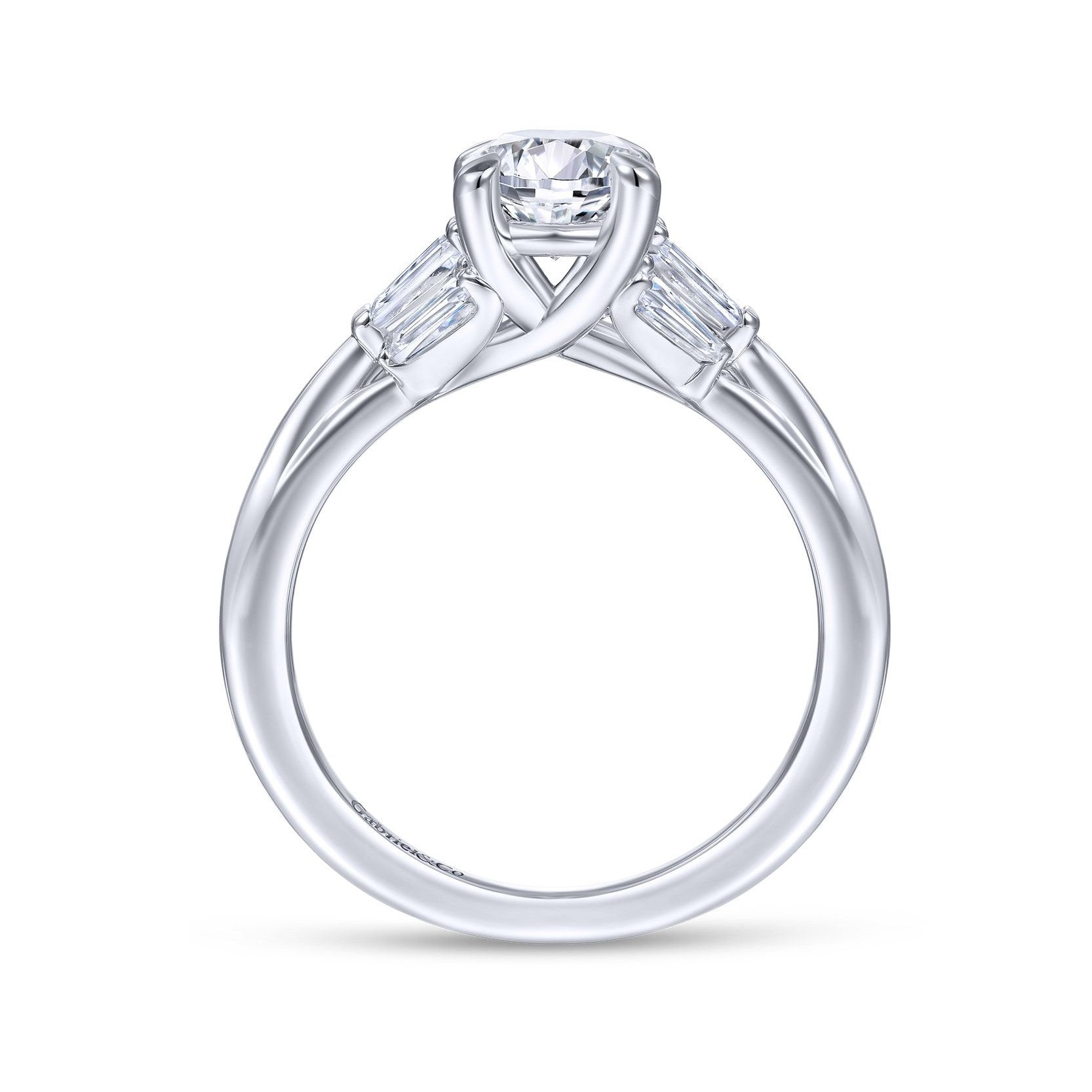 Gabriel & Co. 14k White Gold Oval Three Stone Tapered Baguette Diamond Engagement Ring