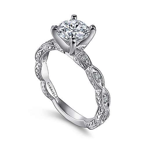 Gabriel & Co. Vintage Round Diamond Engagement Ring