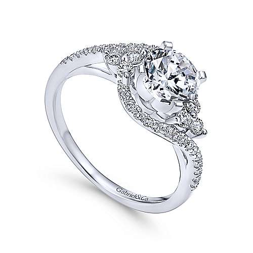 Gabriel & Co. 14k Gold Three Stone Bypass Diamond Engagement Ring