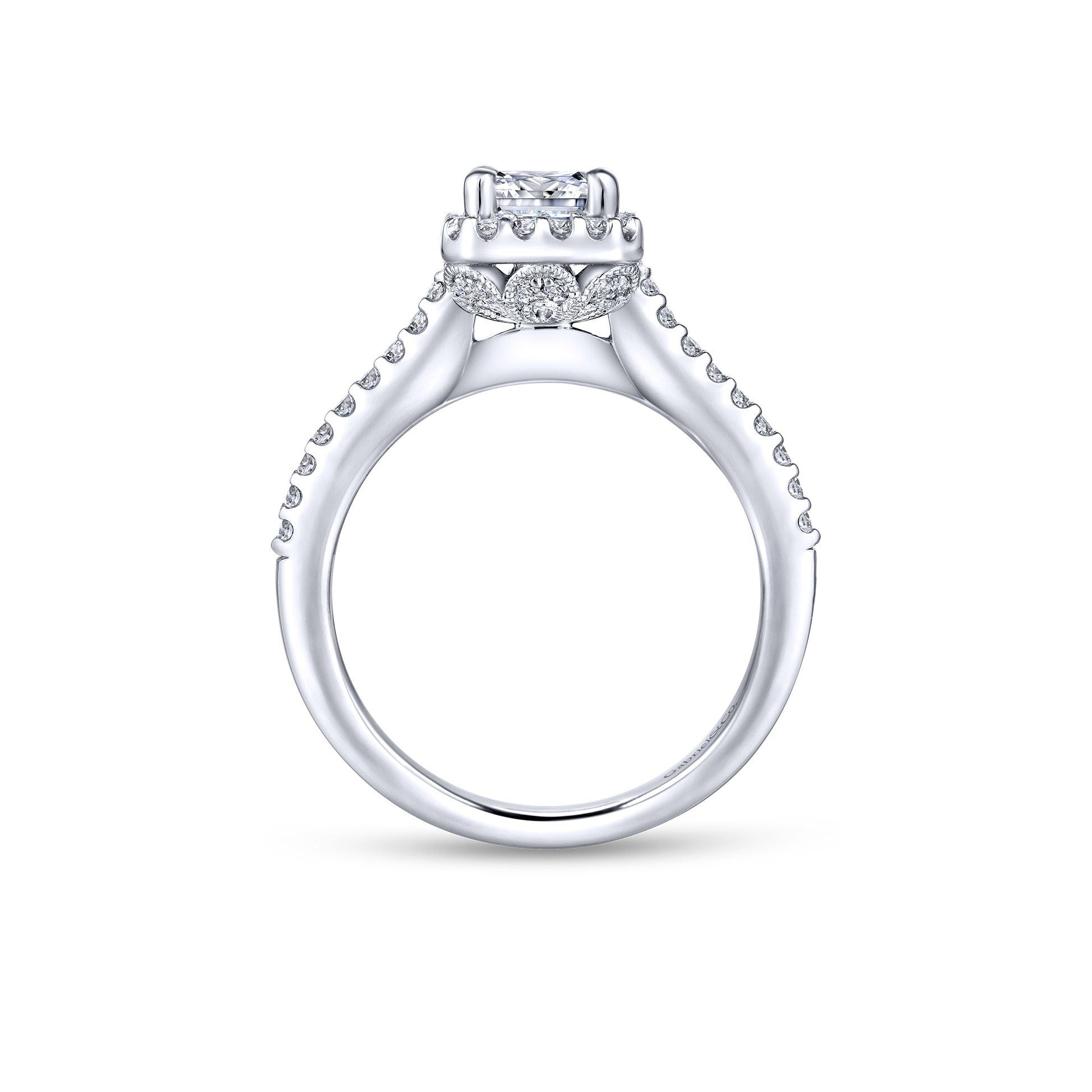 Gabriel & Co. 14k White Gold Emerald Cut Diamond Engagement Ring
