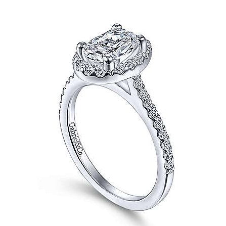 Gabriel & Co. 14k White Gold Timeless Oval Halo Engagement Ring