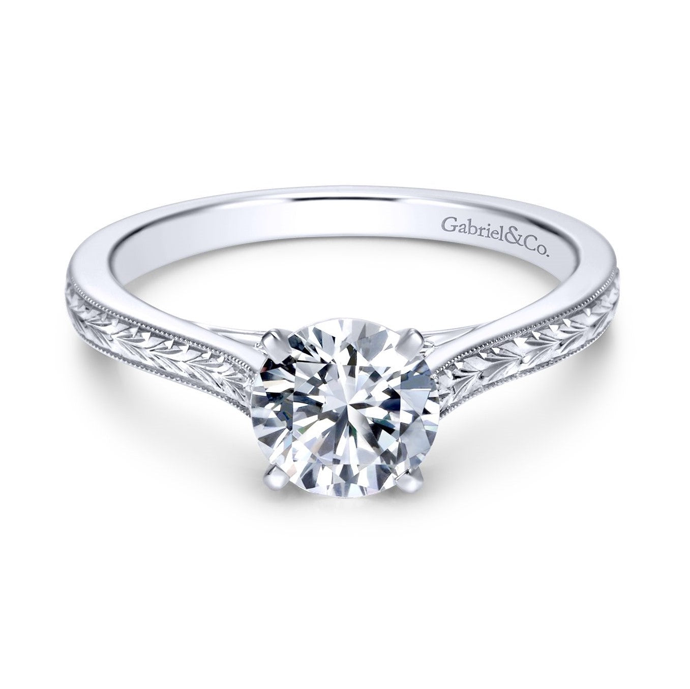 Gabriel & Co. 14k White Gold Round Solitaire Engraved Vintage Style Engagement Ring
